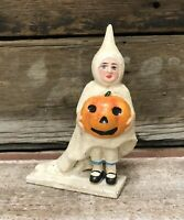 Cast Iron Halloween Girl with Pumpkin Vintage Coin Bank
