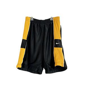 Vintage Nike Basketball Men's Shorts Sz L Mesh Lined Black / Yellow / Logo GUC