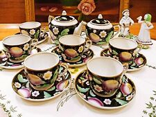 "Tea set Verbilki DFZ ""PLUM on black"" 1954-1965 6 persons 14 items RARE (NO LFZ)"