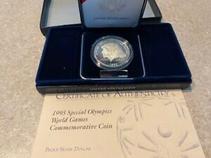 1995 Special Olympics silver commemerative $1 coin - proof