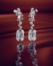 Emerald & Round Cut 10 ct Diamond With Solid 925 Sterling Silver Drop Earrings