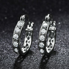 Silver White Gold Filled Ring Huggies Diamond Crystal Lady Party Banquet Earring
