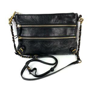 Elliott Lucca Messina Purse Black Leather Gold Hardware 3 Zip Crossbody Purse