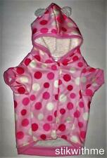 """NWT Dogs Hooded JACKET Ultra Soft Sherpa Lined Lightweight Pink Dotted (L16-17"""")"""