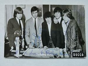 Rolling Stones Karte,  5 originale Autogramme der Stones, inkl. Brian Jones