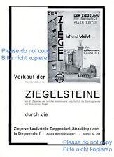 Ziegel Verkaufsstelle Deggendorf Straubing XL Reklame 1930 Ziegelstein Werbung