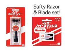 Japanese Feather Double Edge Razor Rasor Holder 10 blade set!  Made in JAPAN