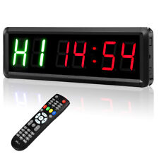 LED Display Interval Timer Wall Clock Gym Timer Count Up/Down for Indoor Fitness