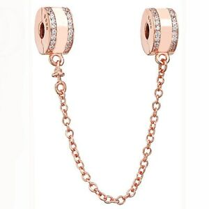 Authentic 925 Silver Rose Gold Sterling Safety Chain for European Charm Bracelet