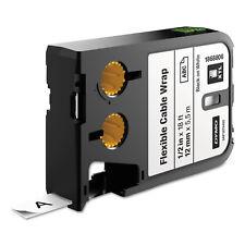 """DYMO XTL Flexible Cable Wrap Labels 1/2"""" x 18 ft. White/Black Print 1868806"""