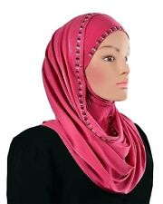 Luxury Instant Hijab slip on 100% JERSEY stretch WRAP Instant SHAWL HOODED Scarf