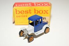 ? BEST BOX BESTBOX 2505 T-FORD T FORD 1919 TWO SEATER  WHITE BLUE N MINT BOXED