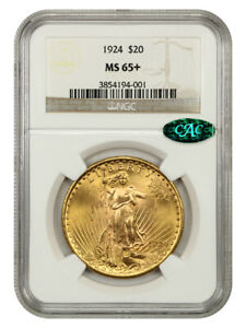 1924 $20 NGC/CAC MS65+ - Saint Gaudens Double Eagle - Gold Coin - High-End Gem
