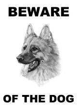 Cuidado Con El Perro-alsacianos Pastor Alemán-Laminado Signo Diversión Nuevo