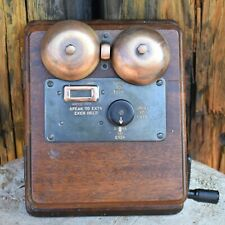 Antique Telephone Exchange Wooden Ringer Box Bell Wall Mounted Hand Cranked