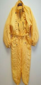 W4 MENS vintage RODEO 80s YELLOW ADJUSTABLE SKIING SNOW BOARDING SUIT L W34 L30