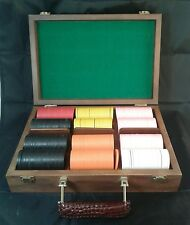 Vintage Deluxe Poker Chip Set In Wood Box 3 Trays 299 Chips With Deck Of Cards