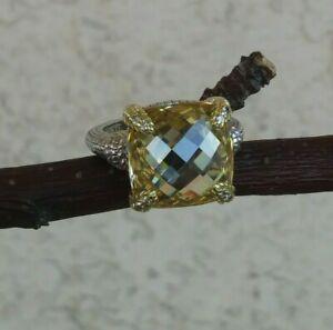 Judith Ripka Linen Canary Crystal/Diamond/Sterling & 18k Yellow Gold Ring 6.75