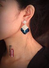Pendiente`Orejas Pendientes Art Deco Cristal Cuadrado Azul Brillante Barroco XX