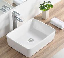 DeerValley Modern Rectangle Above Counter Porcelain Ceramic Bathroom Vessel Sink