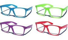 JELLY CANDY COLOR Clear Lens Eye Glasses Horn Rim Classic Retro 80s Nerd Fashion