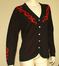 Vintage Women's Pendleton Black and Red Women's Button Up Sweater Med 38' - 44""