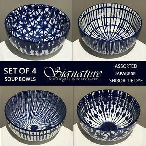 "SET OF 4 - New Japanese Shibori Tie Dye Stoneware 6"" Soup Bowls Blue Assorted"