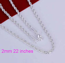 Men & Women Fashion 925 Sterling Silver Necklace Chain Jewelry 22inch Free Ship