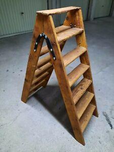 ancien escabeau pliable en bois 2x6 marches échelle double bibliothèque étagère