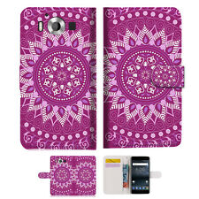"""Purple AZTEC TRIBAL TPU Wallet Case Cover For Nokia 8 5.3"""" -- A003"""