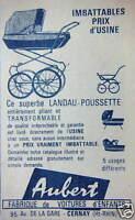 PUBLICITÉ 1968 AUBERT FABRIQUE DE VOITURES D'ENFANTS POUSSETTE - LANDAU A CERNAY