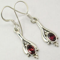 "925 Pure Silver CUT GARNET GEMSTONE LOVELY Dangle LONG Earrings 1.4"" OXIDIZED"