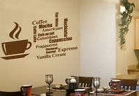 COFFEE CUP AND COFFEE WORDING Wall Art Design - Drink Themed - Various Colours