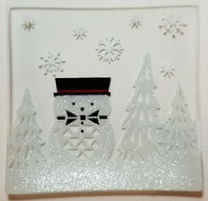 YANKEE CANDLE - Jackson Frost Crackle SNOWMAN CHRISTMAS Candle Plate NEW BOX
