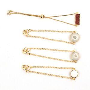 Solar Quartz Sugar Druzy Yellow Gold Plated Adjustable Chain Bracelets Lot 4 Pcs