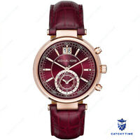 Michael Kors Sawyer Burgundy Red Dial&Leather Ladies Watch MK2426