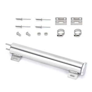 "2 ""x 13"" Stainless Steel Modified Tank Car Radiator Catch Can Cooling Bottle Kit"