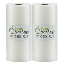 """TWO 8""""X50' FoodVacBags 4 mil Rolls Food for Storage Vacuum Sealers FOOD SAVER!"""