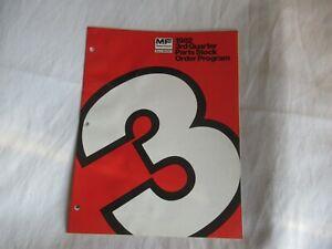 1982 Massey Ferguson MF parts stock order program forms brochure