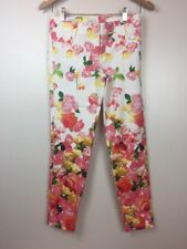 NEW Cache Women Size 0 White Skinny Ankle Pants Pink Floral $108