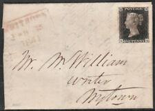 1840 SG2 1d BLACK PLATE 7 FINE 4 MARGIN RED CROSS ON COVER FROM WHITHAM (KA)