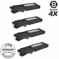 4PK BLACK 593-BBBU Toner for Dell C2660DN C2665 Extra High Yield RD80W Cartridge
