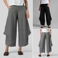 Casual Long Pants Women Elastic Waist Wide Legs Asymmetrical Pants Trousers Plus