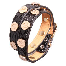 Croc Faux Leather Slake Bracelet Gold Plated Nail Screw Bangle Black
