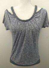 Papaya Size Medium Gray Braided Cold Shoulder Sleeves Top Blouse Shirt Made  USA