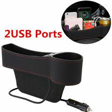 Left Side Car Accessories Seat Slit Pocket Storage Organizer Box w/2 USB Port