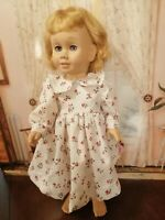 """VINTAGE CHATTY CATHY 18-20/""""HANDMADE POINSETTIAS /& ROSES ON GREEN 2PC OUTFIT"""