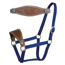 Western Blue Nylon Bronc Halter with Brass Hardware &Hand Carving : Star Conchos