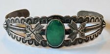 Old Pawn Navajo Sterling Turquoise Stamped Arrows Cuff Bracelet