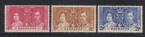 Barbados  1937   Sc #190-92   Coronation   MLH   OG   (5005-)